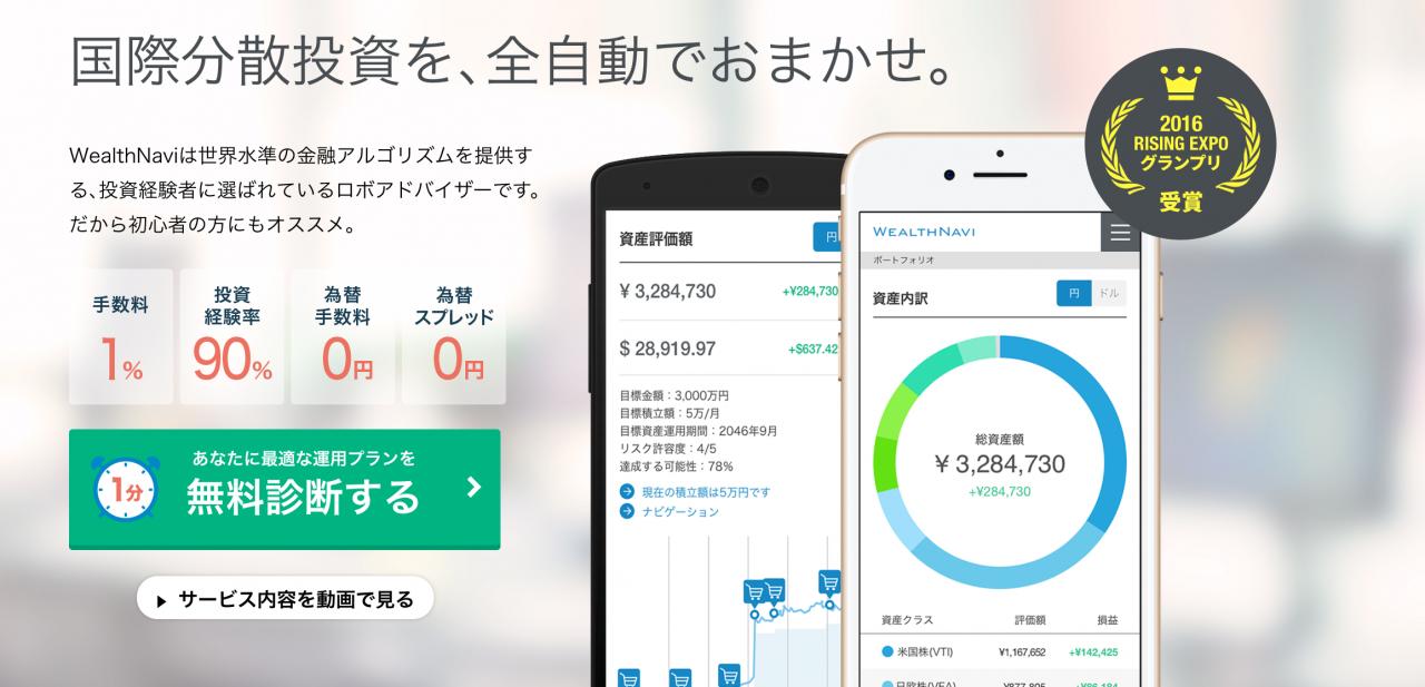 【運用成績】2016年7月から100万円投資中のウェルスナビ(WealthNavi)運用実績と口コミを紹介します
