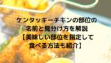ケンタッキーチキンの部位の名前と見分け方を解説【美味しい部位を指定して食べる方法も紹介】