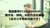 電話番号0120339085の相手先・用件・対応方法を解説【あせらず対処可能です】